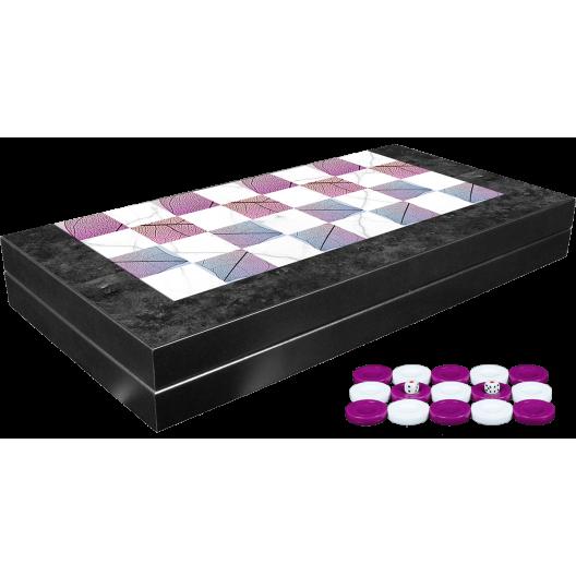Луксозна дървена табла и шах комплект с пулове Bahar
